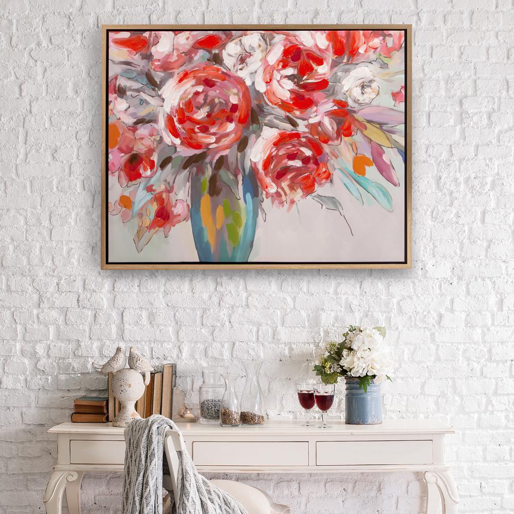 Pinnacle Scarlet Bouquet Floral Framed Canvas Wall Art-1711-3399 ...