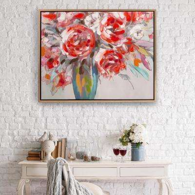 Scarlet Bouquet Floral Framed Canvas Wall Art