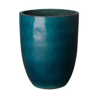 19 in. Dia Tall Round Teal Ceramic Planter