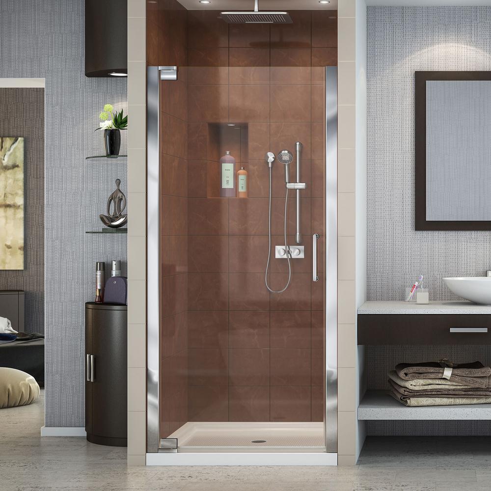 Elegance 34 in. to 36 in. x 72 in. Semi-Framed Pivot Shower Door in Chrome