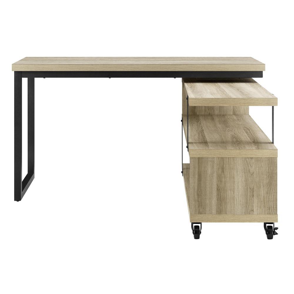 Ameriwood Easton Brown Oak L Shaped Swivel Desk