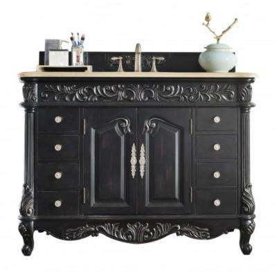 Monte Carlo 48 in. W Single Vanity in Empire Black with Marble Vanity Top in Galala Beige with White Basin