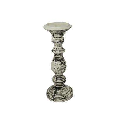 12 in. Ceramic Black/White Candle Holder