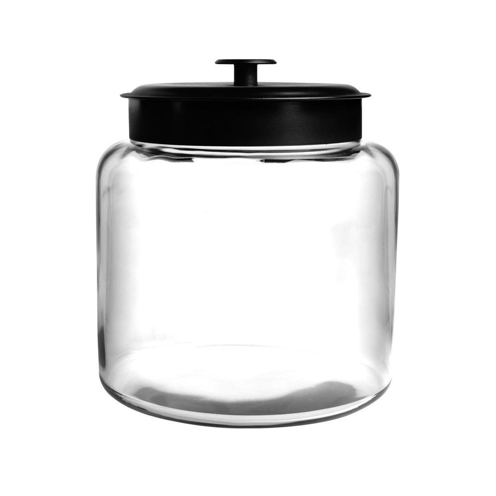 Anchor Hocking 1.5 gal. Montana Jar with Metal Cover, Clear Generous mouth openings allow for easy access, fitment around the lid allows for a tight storage and the perfect place to store cereals, pastas, flour, sugar, or any of your favorite items. Stylish design makes it hard to keep these jars in the pantry. They look great on the counter. Color: Clear.