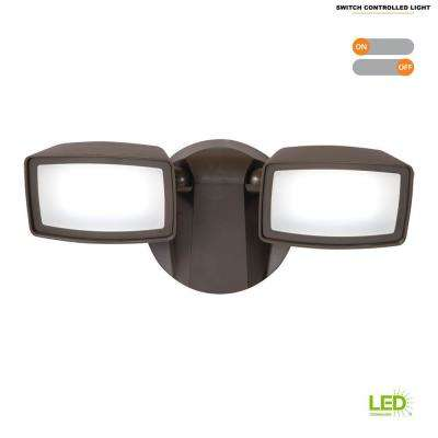 Bronze Outdoor Integrated LED Security Flood Light with 5000K Daylight