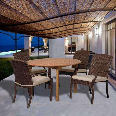 Carpenter 5-Piece Teak Round Patio Dining Set with Off-White Cushions