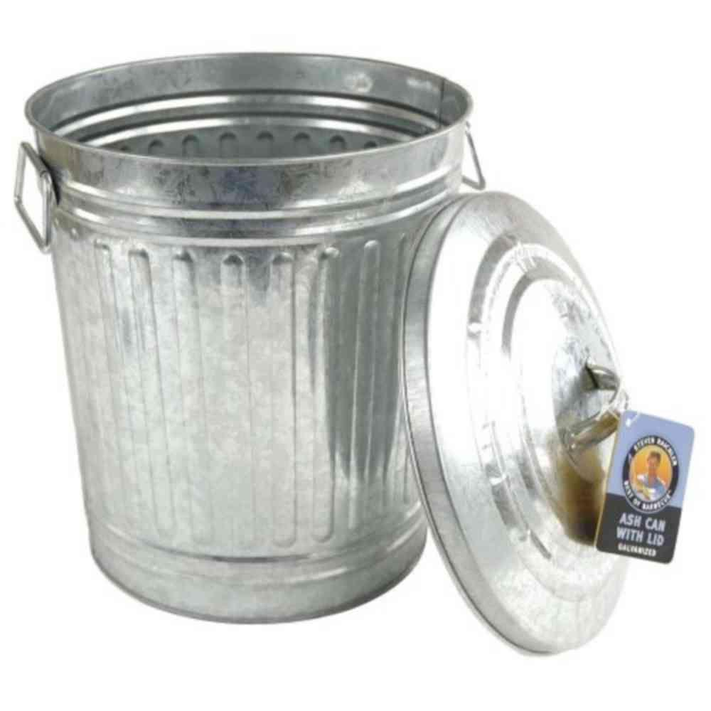 Steven Raichlen Galvanized Charcoal Or Ash Can With Lid