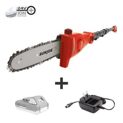 8 in. 24-Volt Cordless Telescoping Pole Chain saw Kit in Red with 2.0 Ah Battery + Charger