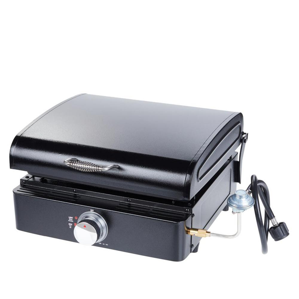 Lifesmart Deluxe Single Burner Portable Propane Cast Iron Reversible Griddle w/ Cooking Lid, Carry Bag and Large Tank Hose Black