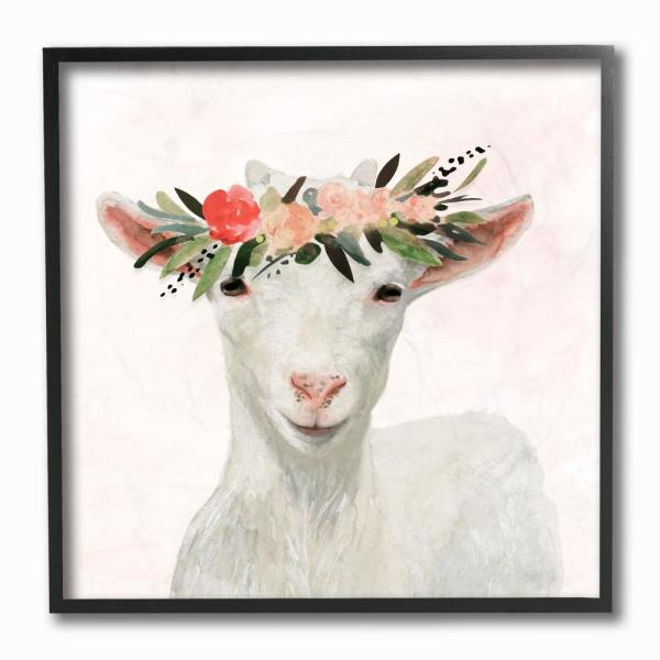 12 In X 12 In Springtime Flower Crown Baby Goat By Artist Victoria Borges Framed Wall Art