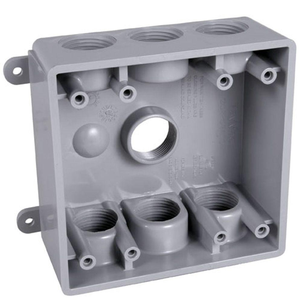 Bell 2 Gang Weatherproof Box With Seven 1 In Or 3 4 Outlets Wiring Double Outlet Pdb77550gy The Home Depot