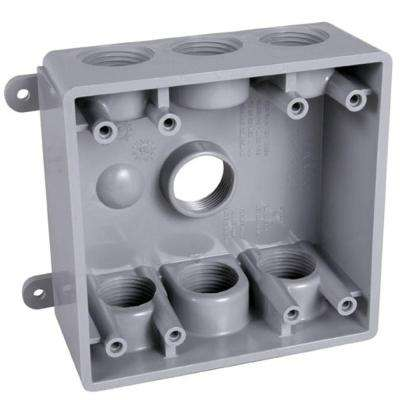 2-Gang Gray Weatherproof Box with Seven 1/2 in. or 3/4 in. Outlets