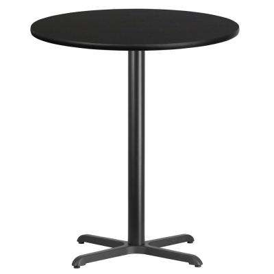36 in. Round Black Laminate Table Top with 30 in. x 30 in. Bar Height Table Base