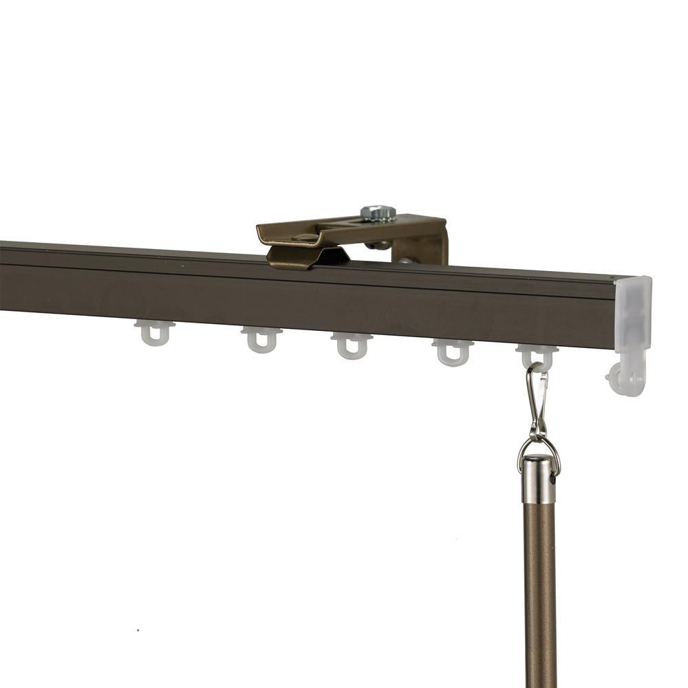 Euroscope 120 in. Non-Adjustable Single Traverse Window Curtain Rod Set in Bronze