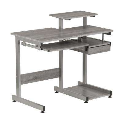 Grey Computer Workstation Desk with Pull-Out Keyboard Tray
