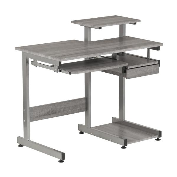 Stupendous Techni Mobili Grey Computer Workstation Desk With Pull Out Download Free Architecture Designs Grimeyleaguecom
