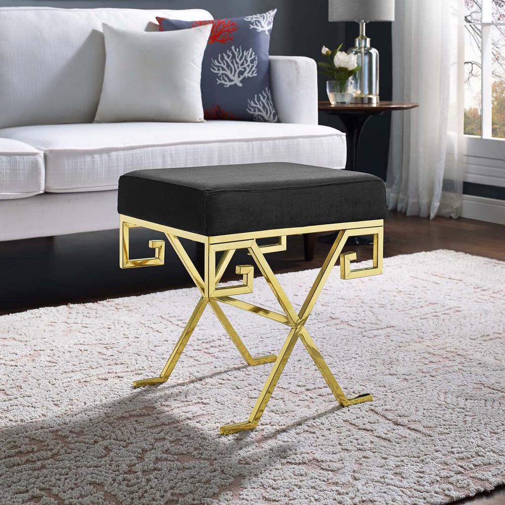 Twist Gold Black Velvet Bench