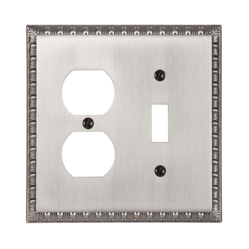 Renaissance 1 Toggle 1 Duplex Wall Plate - Antique Nickel