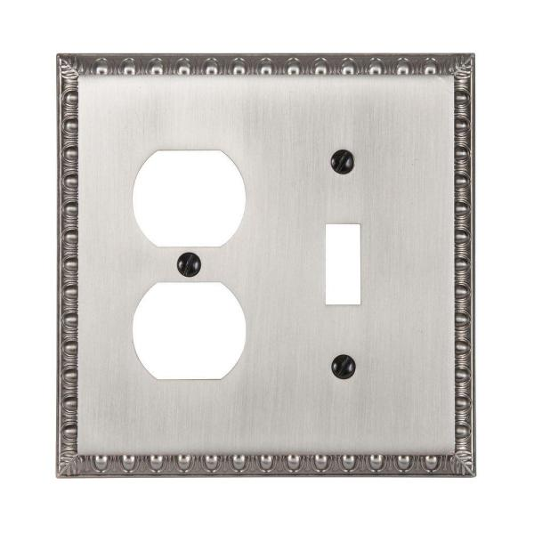 Antiquity 2 Gang 1-Toggle and 1-Duplex Metal Wall Plate - Antique Nickel
