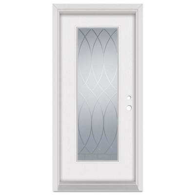 33.375 in. x 83 in. V-Groove Left-Hand Full Lite Finished Fiberglass Mahogany Woodgrain Prehung Front Door Brickmould
