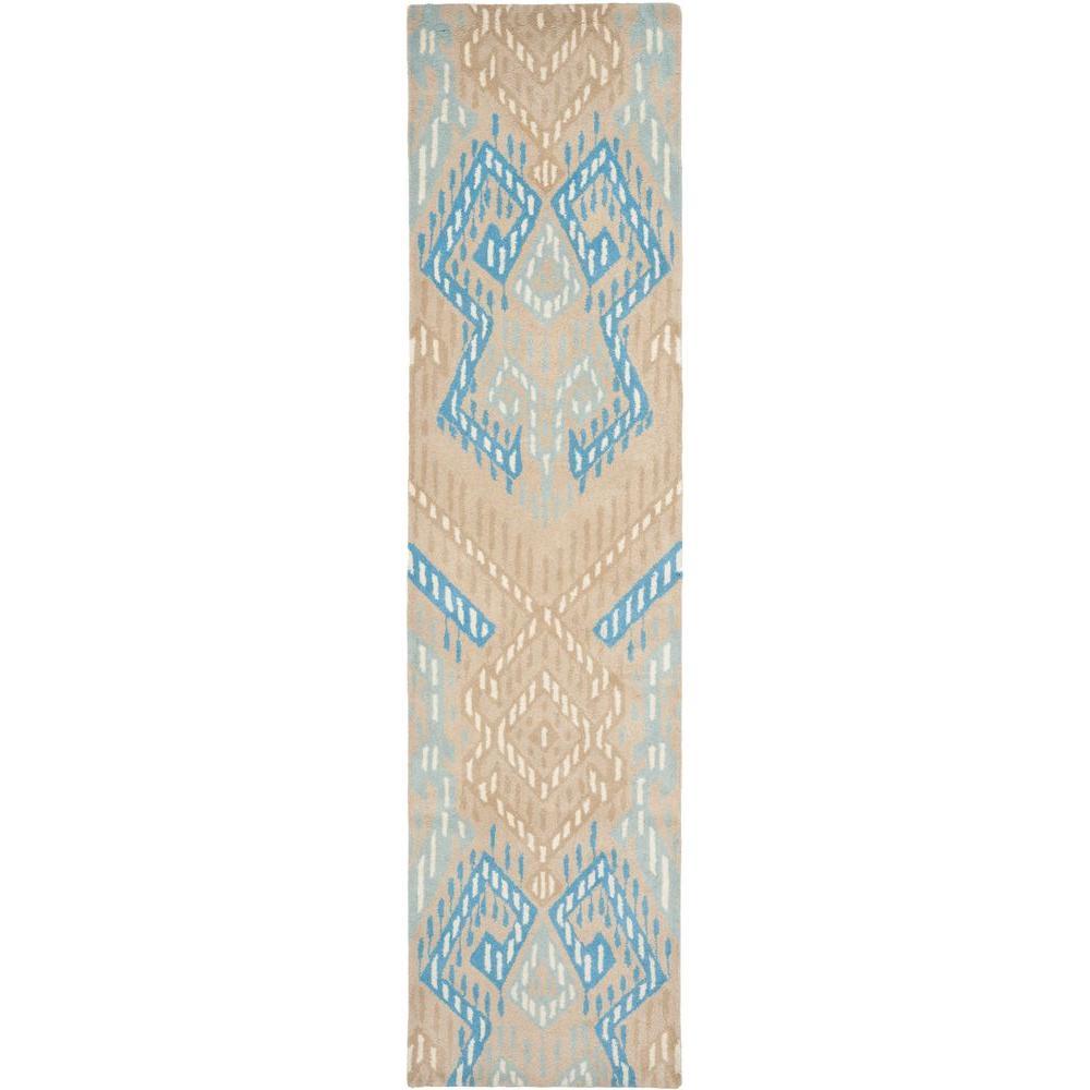 Wyndham Beige/Blue 2 ft. 3 in. x 9 ft. Runner