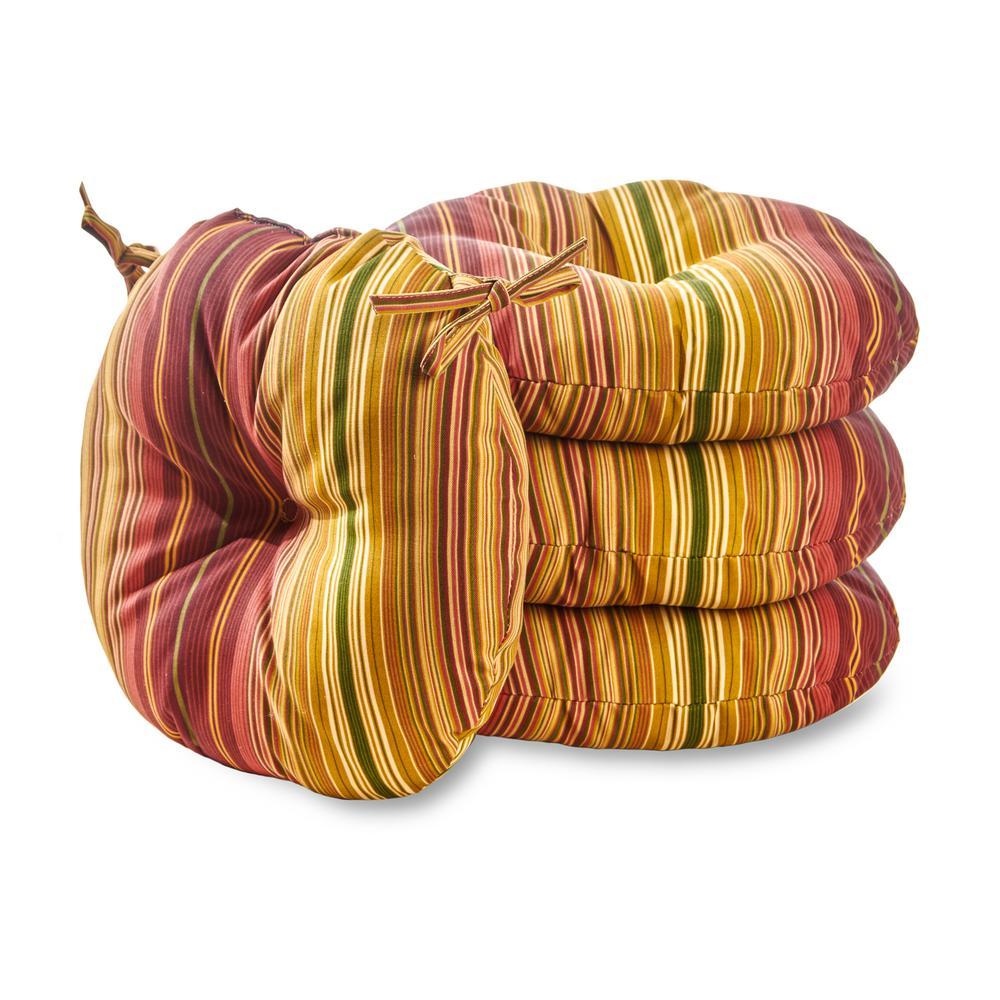 Kinnabari Stripe 15 in. Round Outdoor Seat Cushion (4-Pack)