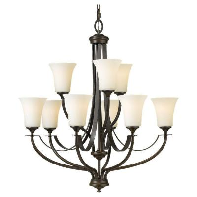 Barrington 9-Light Oil Rubbed Bronze Transitional Chandelier with White Opal Etched Glass Shades