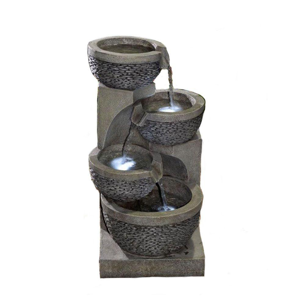 Jeco Multi-tier Bowls Water Fountain with LED Light-FCL103 - The ...