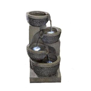 Jeco Multi-tier Bowls Water Fountain with LED Light by Jeco