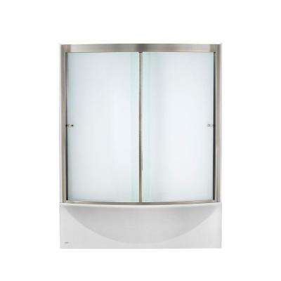 Ovation 60 in. Standard Fit Bathtub Kit with Right-Hand Drain and Sliding Tub/Shower Door in Satin Nickel