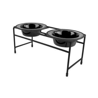 1.25 Cup Modern Double Diner Feeder with Dog/Cat Bowls, Midnight Black