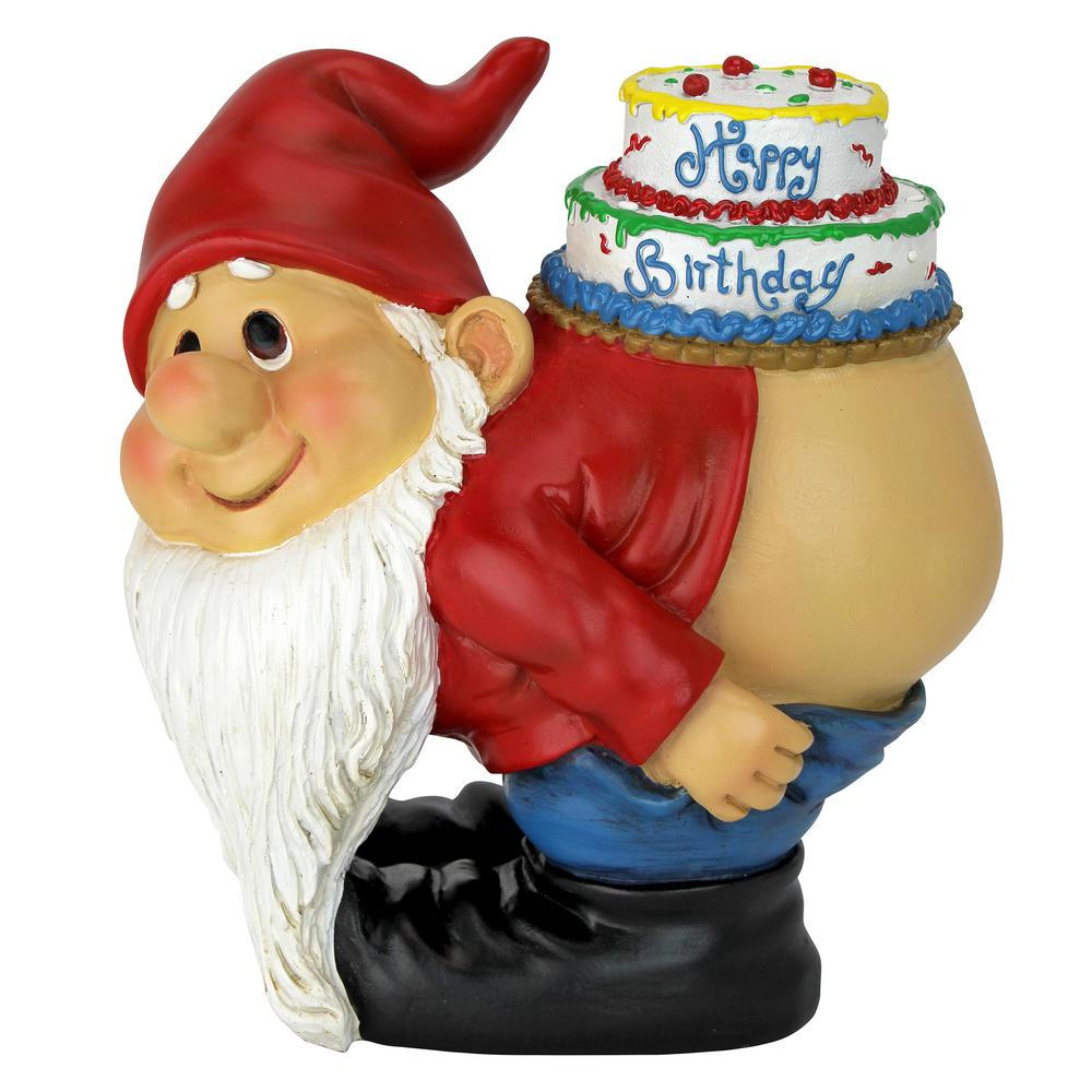 Design Toscano 7.5 in. H Loonie Moonie Happy Birthday Garden Gnome Statue