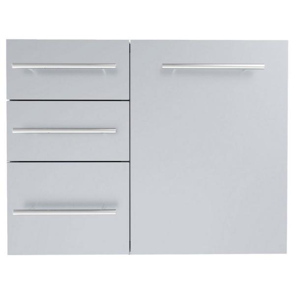 Designer Series Raised Style - 30 in. Propane Combo with Trash Bag Ring and Triple Drawer Unit