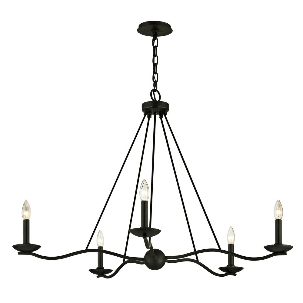 Troy Lighting Sawyer 5 Light Forged Iron 40 In D Chandelier