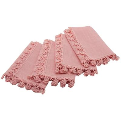 Charm Lace 20 in. x 20 in. Rose Quartz Floral Trim Napkins (Set of 4)