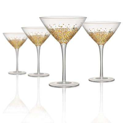 9 oz. Martini/Cocktail Glass with Gold and Silver Confetti Decoration (Set of 4)