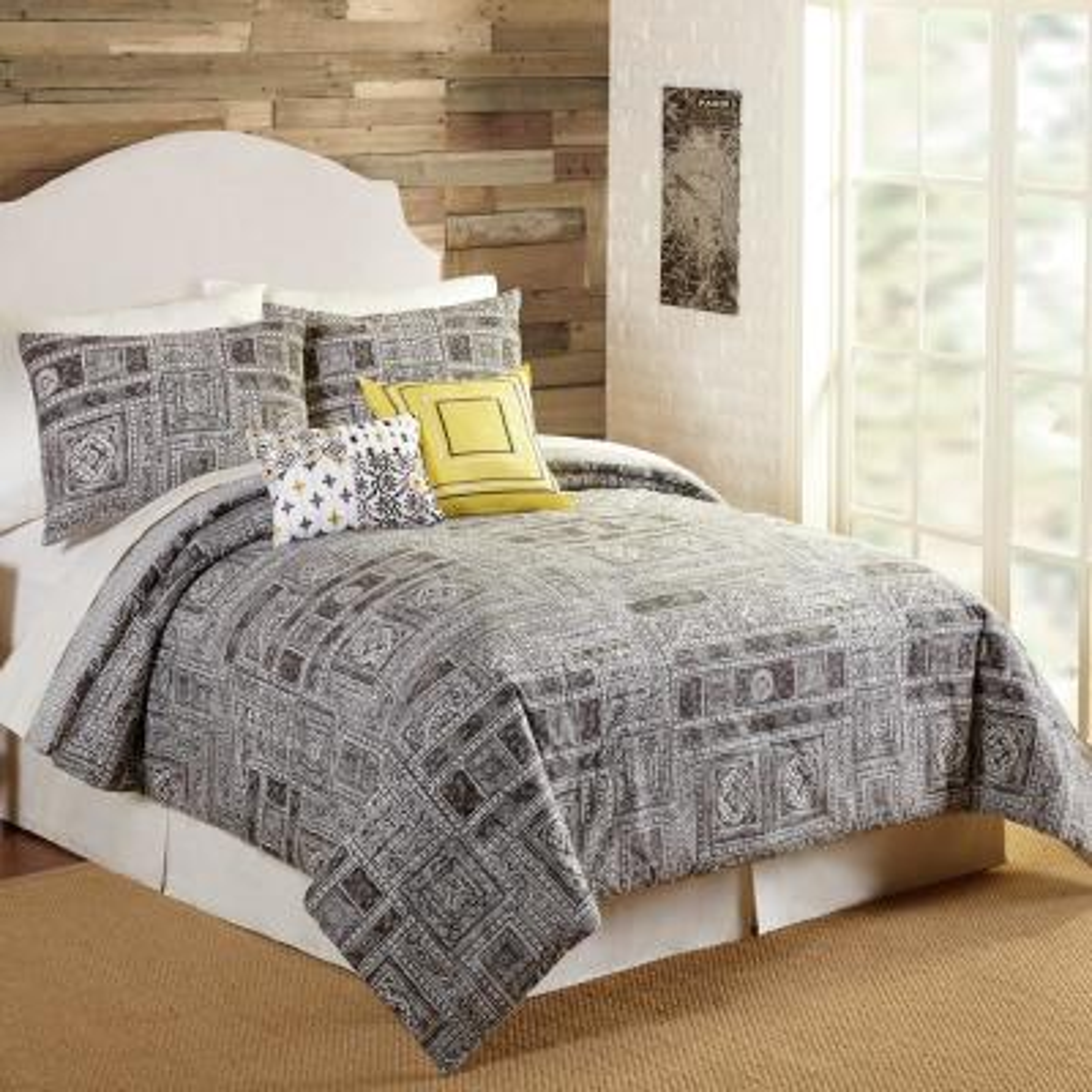 Tranquility 5- Piece Gray Queen Comforter Set