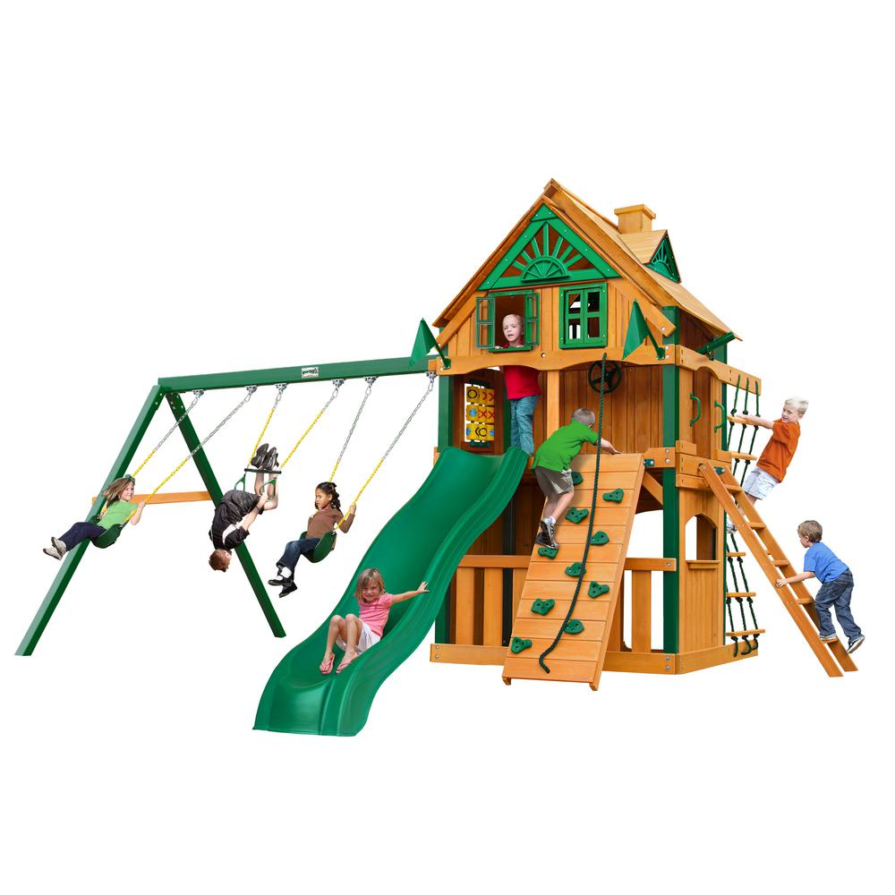 Gorilla Playsets Chateau Clubhouse Treehouse Wooden Swing Set with Fort Add-On, Timber ShieldPosts, and Alpine Wave Slide