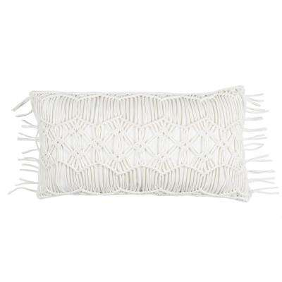 Macram 14 in. x 26 in. Ivory Decorative Filled Pillow