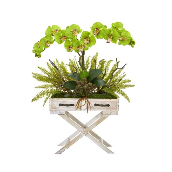 Nearly Natural 26 in. Phalaenopsis Orchid, Fern and Succulent Artificial