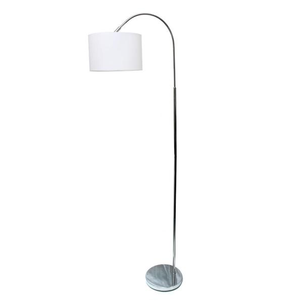 Simple Designs 65.88 in. Arched Brushed Nickel Floor Lamp with White Shade