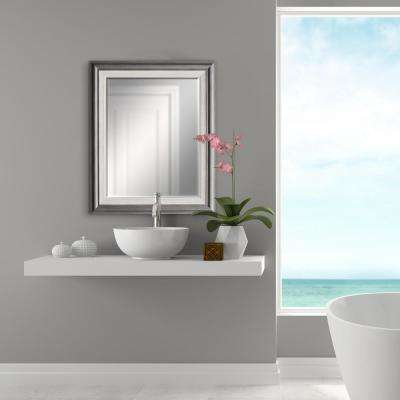 29.5 in. x 35.5 in Grey with White Inner Decorative Mirror