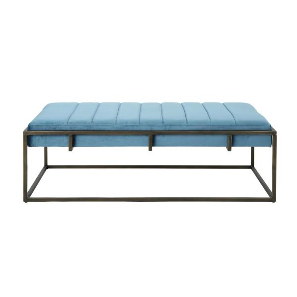 Noble House Magdalene Aqua Velvet Ottoman Bench with Brushed Gold Metal