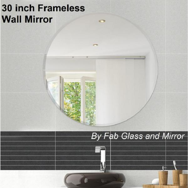 Fab Glass And Mirror 30 In Round Beveled Polished Frameless Decorative Wall Mirror With Hooks 799456351773 The Home Depot