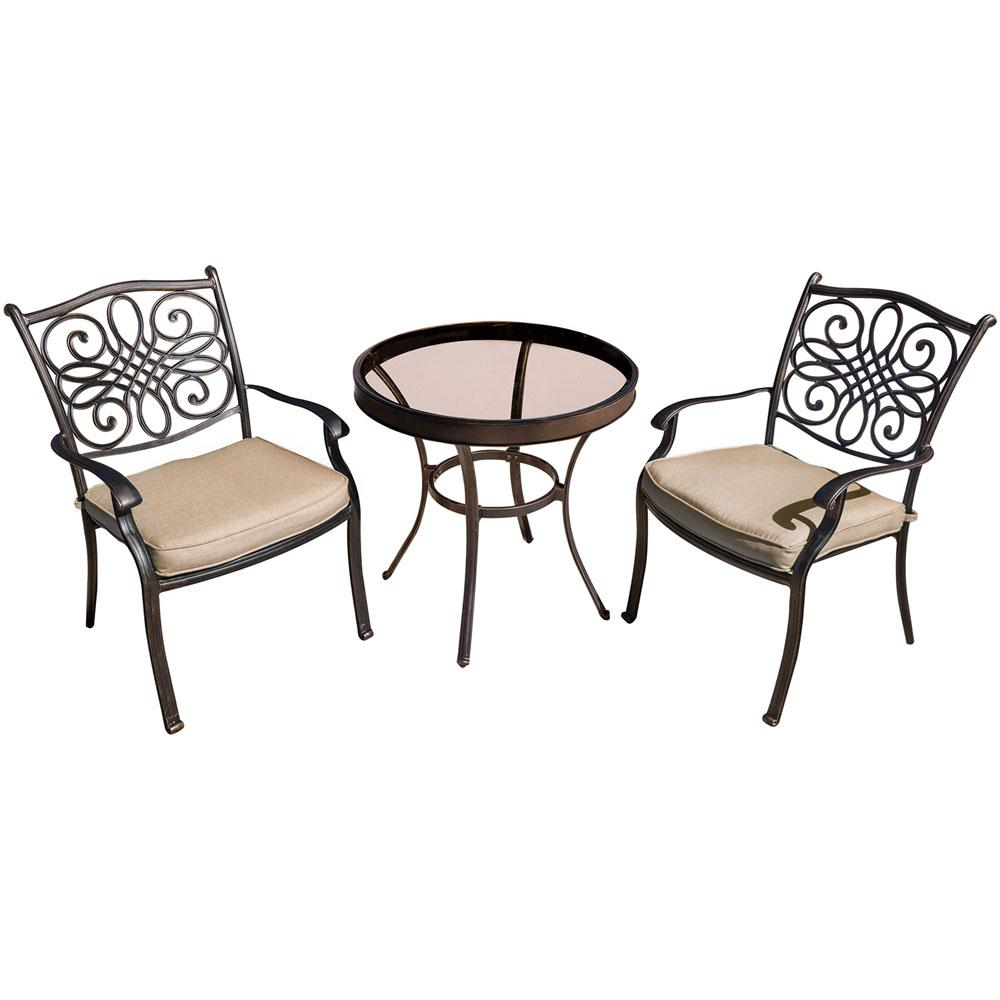Hanover Traditions Bronze 3 Piece Aluminum Outdoor Bistro Set With