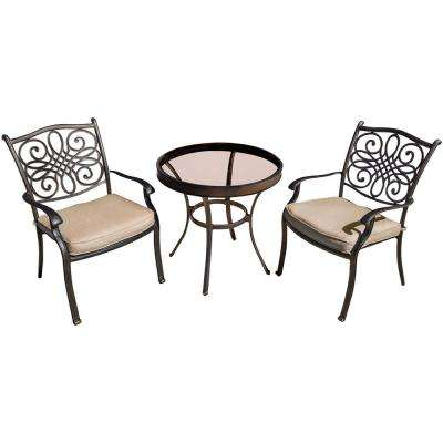 Traditions Bronze 3-Piece Aluminum Outdoor Bistro Set with Natural Oat Cushions