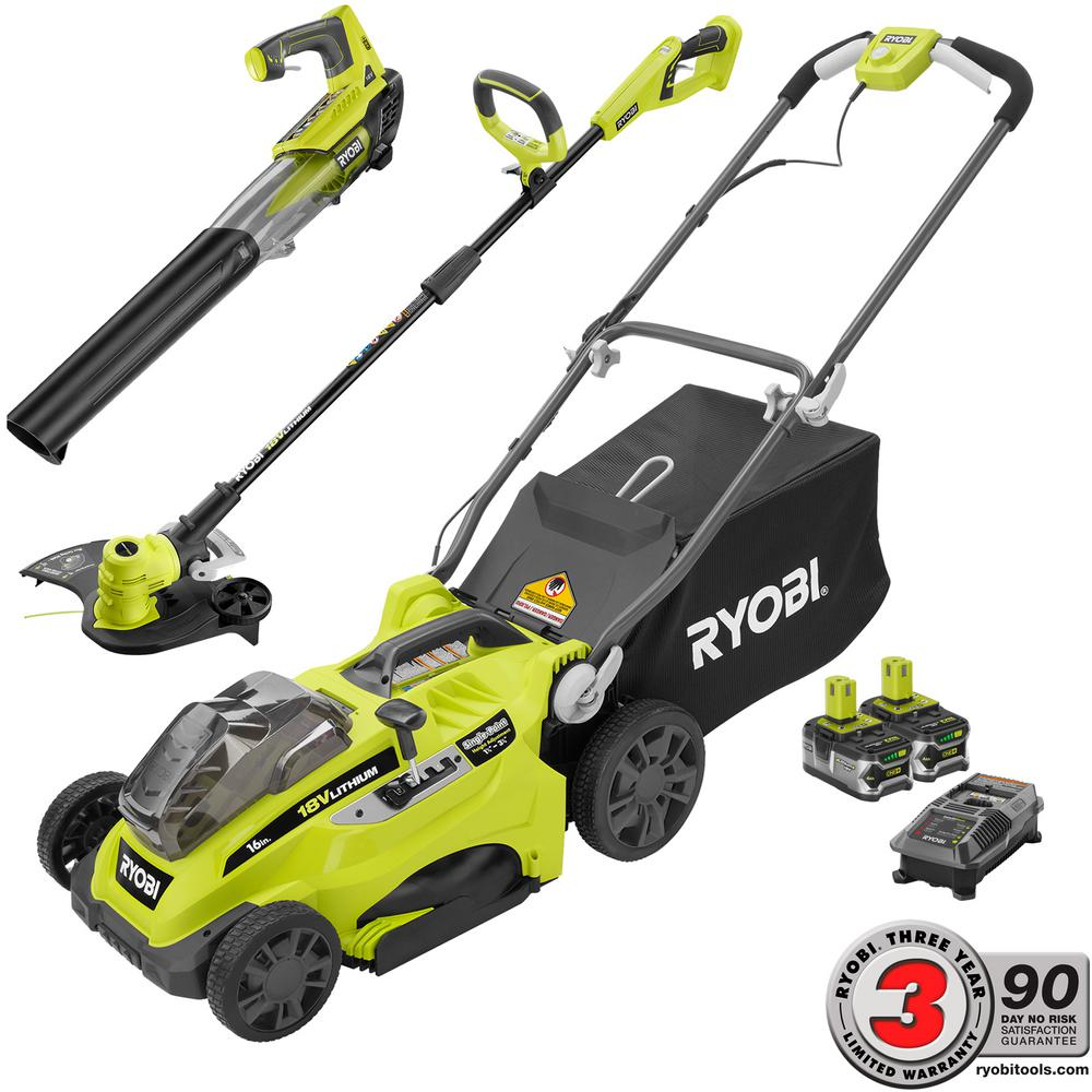 RYOBI 16 in. ONE+ Lithium+ 18-Volt Cordless Mower/Trimmer/Blower Combo Kit - Two 4.0 Ah Batteries and Charger Included