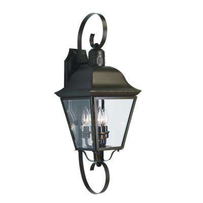 Andover Collection 3-Light 26.25 in. Outdoor Antique Bronze Wall Lantern Sconce