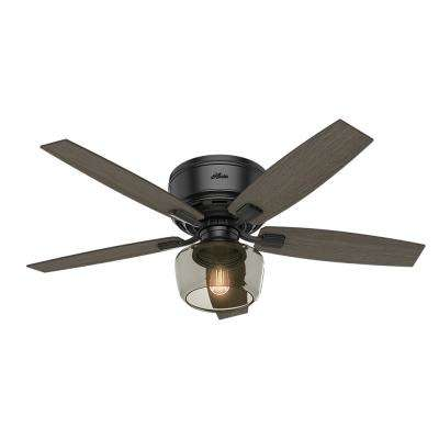 Bennett 52 in. LED Low Profile Matte Black Indoor Ceiling Fan With Globe Light Kit and Handheld Remote Control