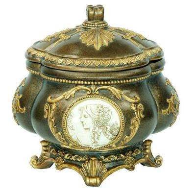 9 in. H Handcrafted Decorative Jewelry Box with Gold Roman Leaves